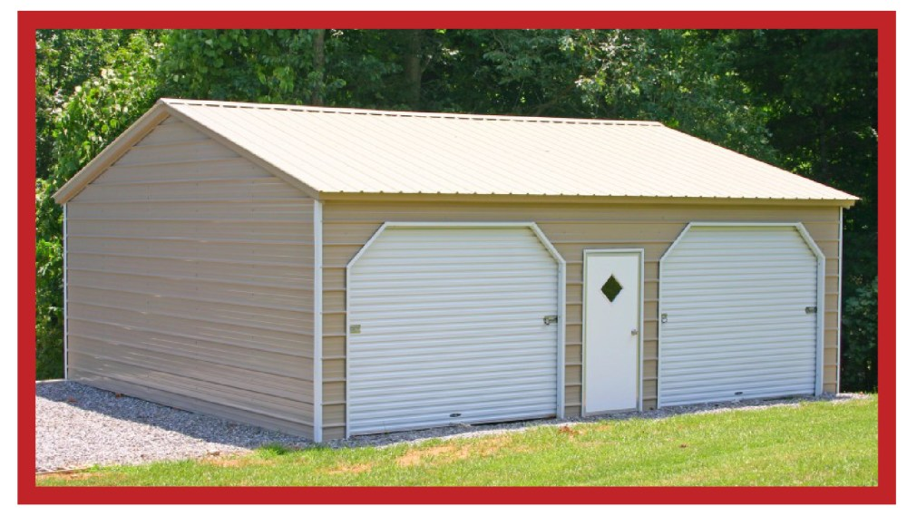Enclosed Metal Garage-Workshop with 2 roll-up doors and center walk-in entry door