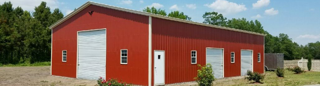High-quality custom large red commercial garage building with roll-up doors