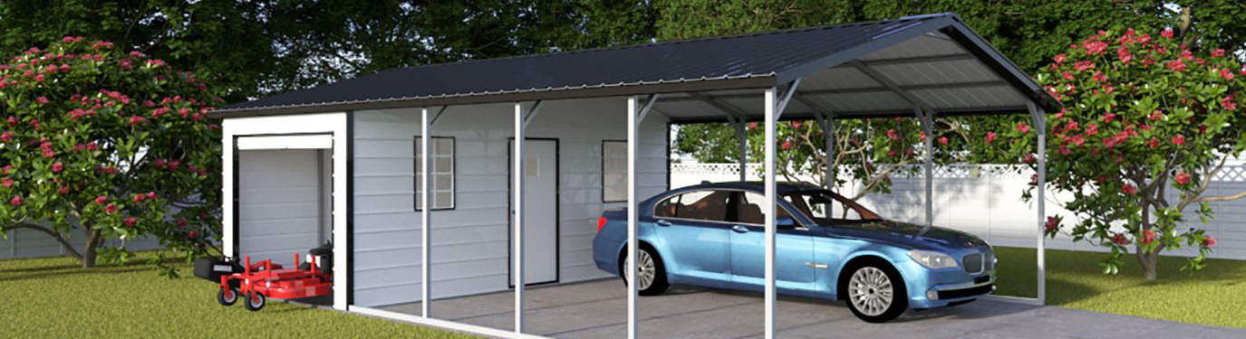 blue car under high-quality custom metal carport with attached storage building