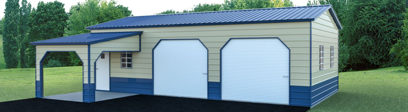 High-quality custom metal garage building with covered side entry
