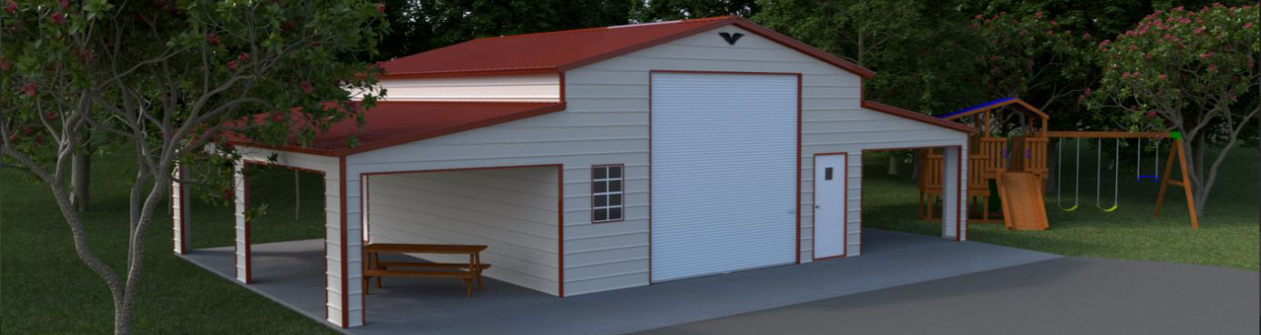 High-quality custom metal RV garage building with dual side porch