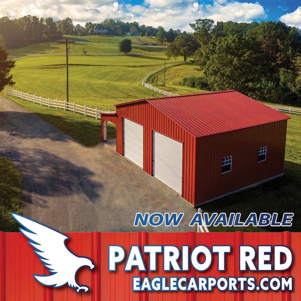 Eagle Carports roll-up 2- door metal garage with side porch and windows in new Patriot Red color option