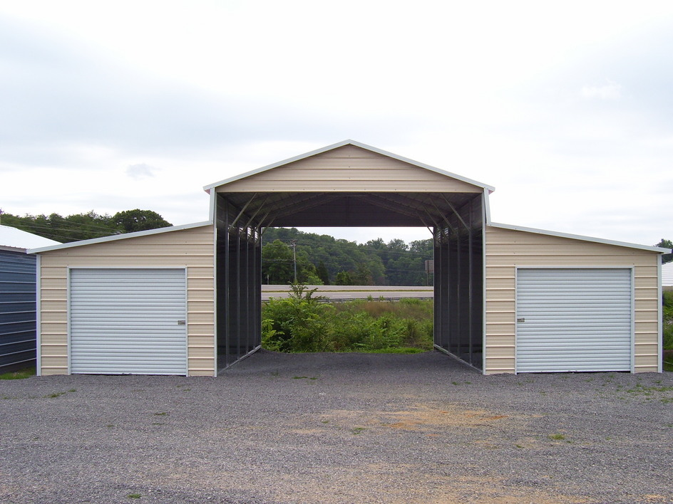 Metal Boxed Eave Horse Barn with enclosed sides and roll-up doors
