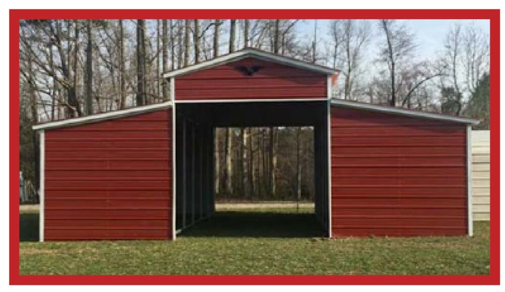 Eagle Carports red metal barn with full side enclosures