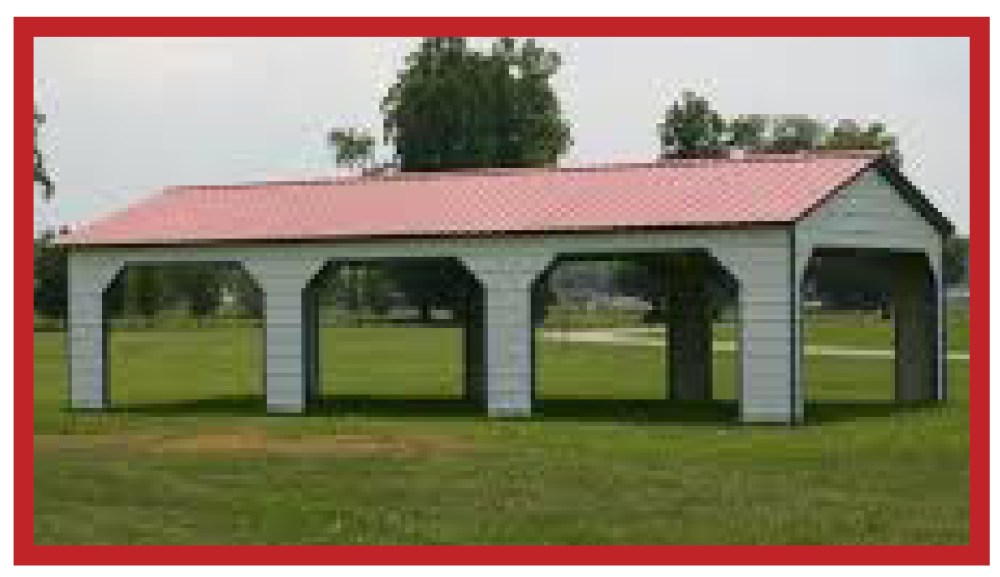 Metal Pavilion outdoor shelter with framed openings