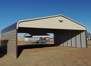 Regular 2-Sided Metal Carport with Gable Ends 26 x 31 x 7