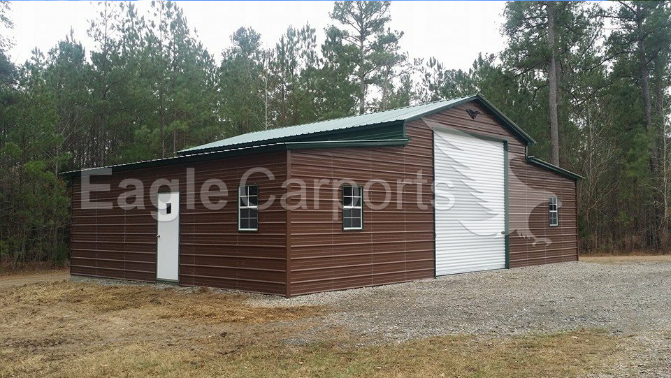 Metal Vertical Enclosed Horse Barn 44 x 26 x 12 x 8