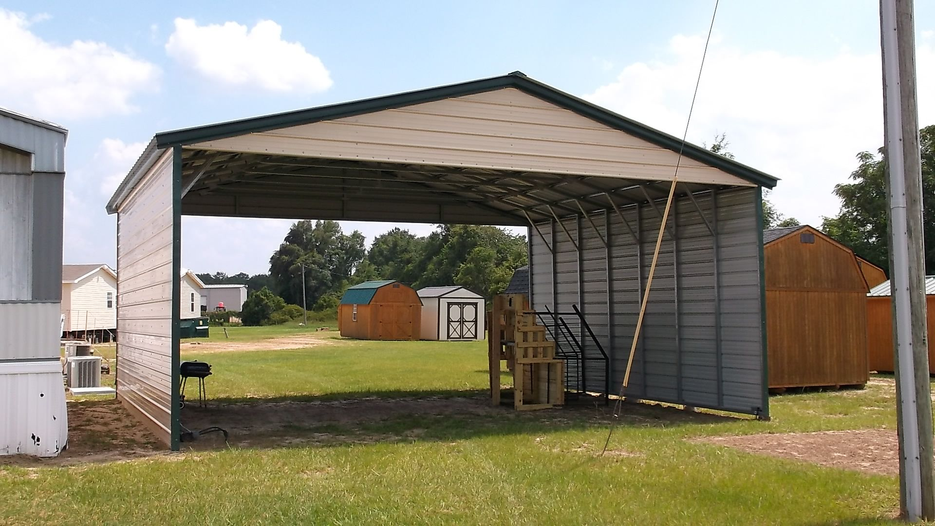 Vertical 2-Sided Metal Carport with Gable Ends 24 x 26 x 10