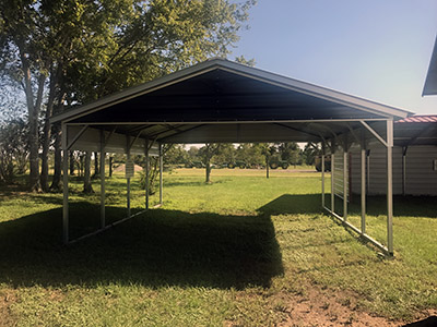 Vertical Metal Carport with Panels & Gable End 18 x 21 x 7