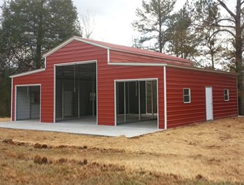 Metal Vertical Horse Barn with enclosed sides