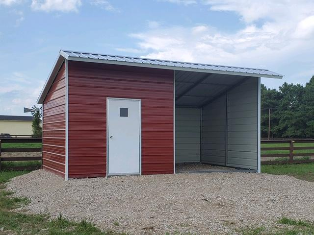 Metal Vertical Loafing Shed-Barn with Tack 12 x 20 x 10 x 7