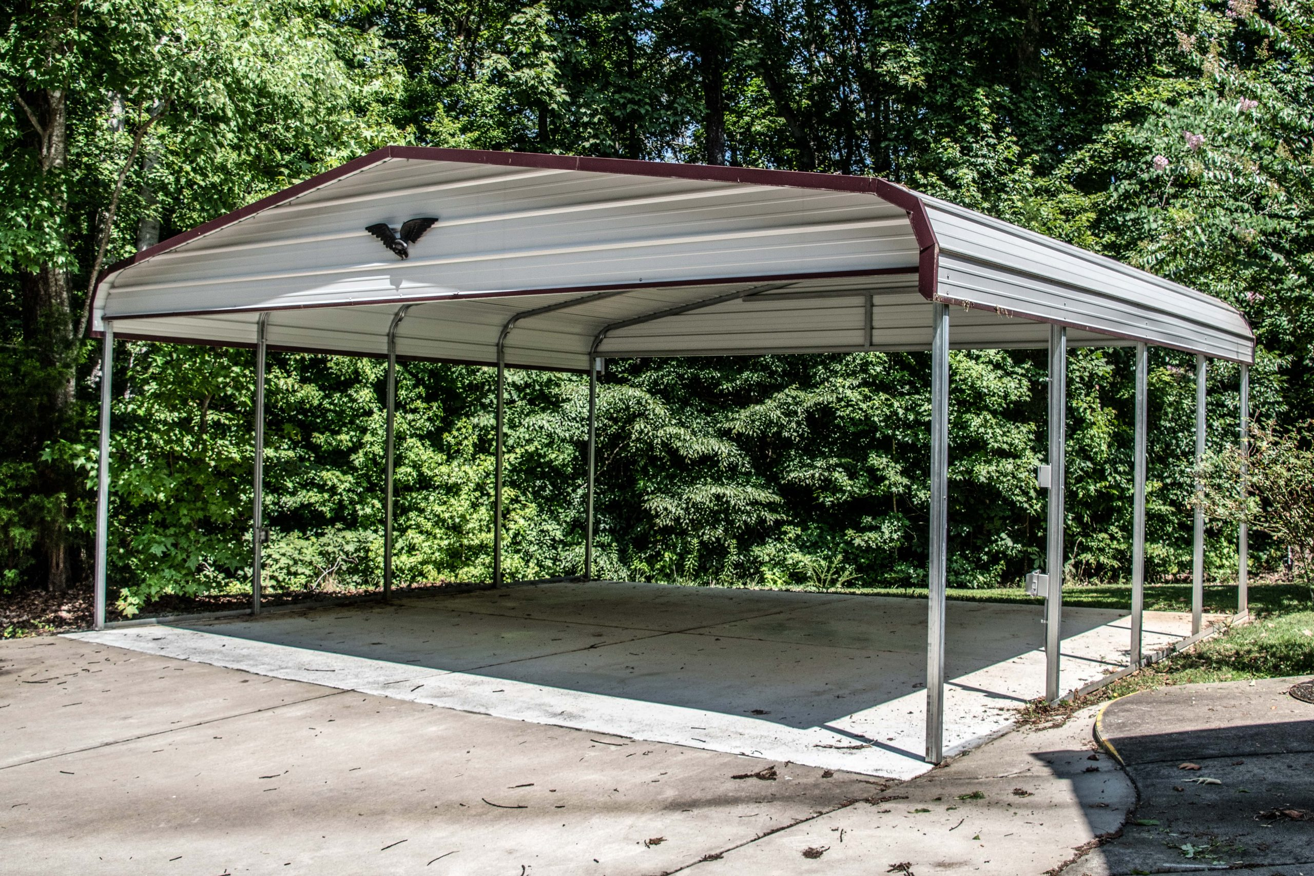 Boxed Eve 3-Sided Metal Carport with Gable End 22 x 26 x 8